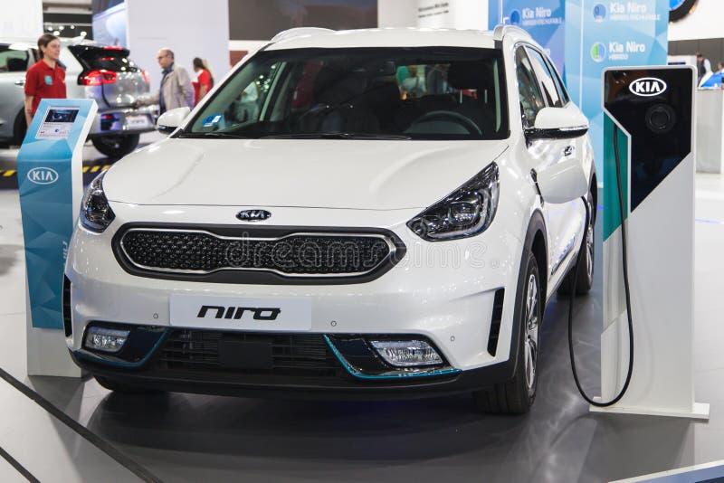 Kia Niro PHEV in Automobiel Barcelona 2019 royalty-vrije stock foto