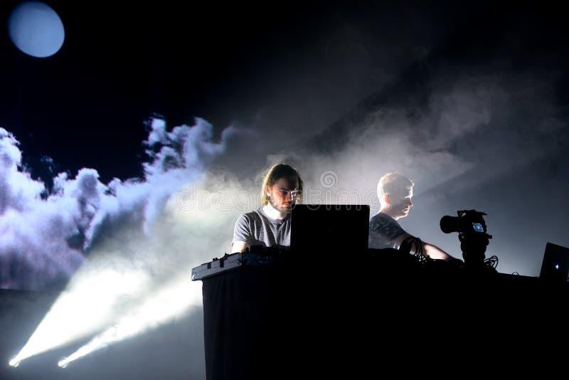 Kiasmos minimal and experimental techno duo in concert at Sonar Festival. BARCELONA - JUN 19: Kiasmos minimal and experimental techno duo in concert at Sonar royalty free stock images