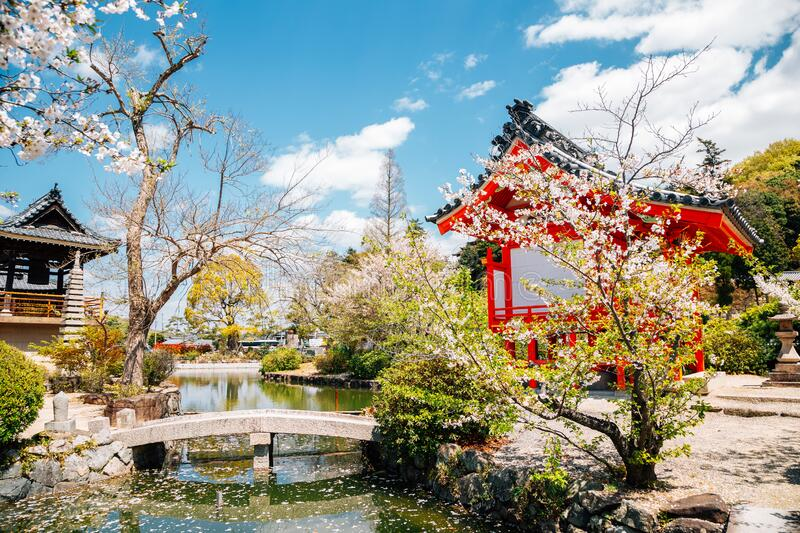 Kibitsu Uka Shrine at spring in Okayama, Japan. Asia royalty free stock photo