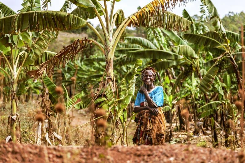 KIBUYE, RWANDA, AFRÄ°CA - WRZESIEŃ 11, 2015: Niezidentyfikowana kobieta obrazy royalty free