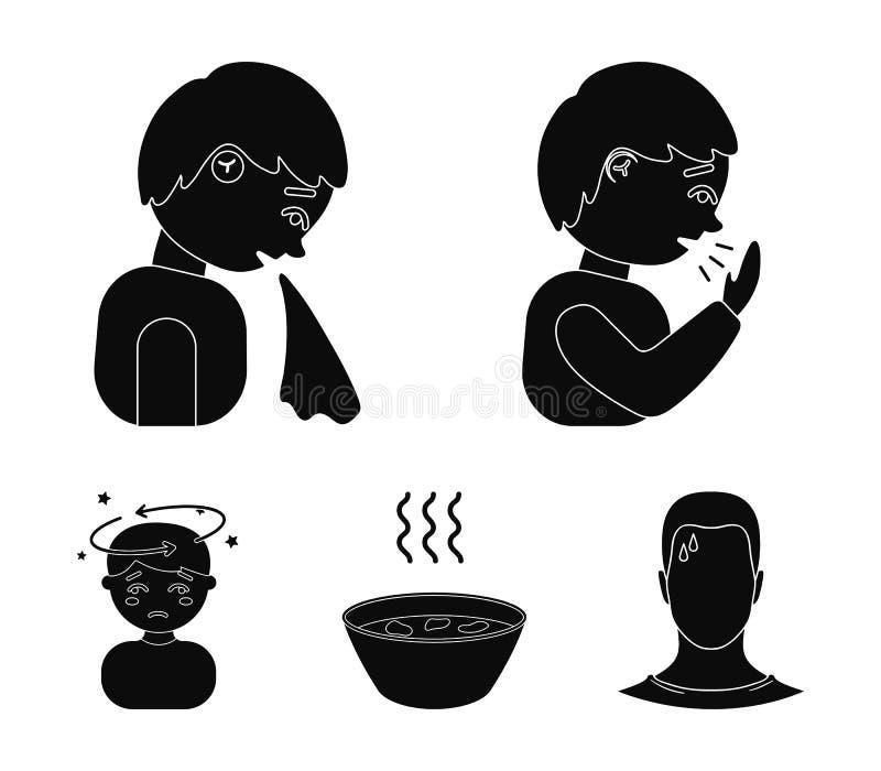 Kichnięcie mężczyzna, chłopiec z chusteczką, pacjent z migreną, gorący rosół, napój w talerzu, filiżanka Choroba set royalty ilustracja