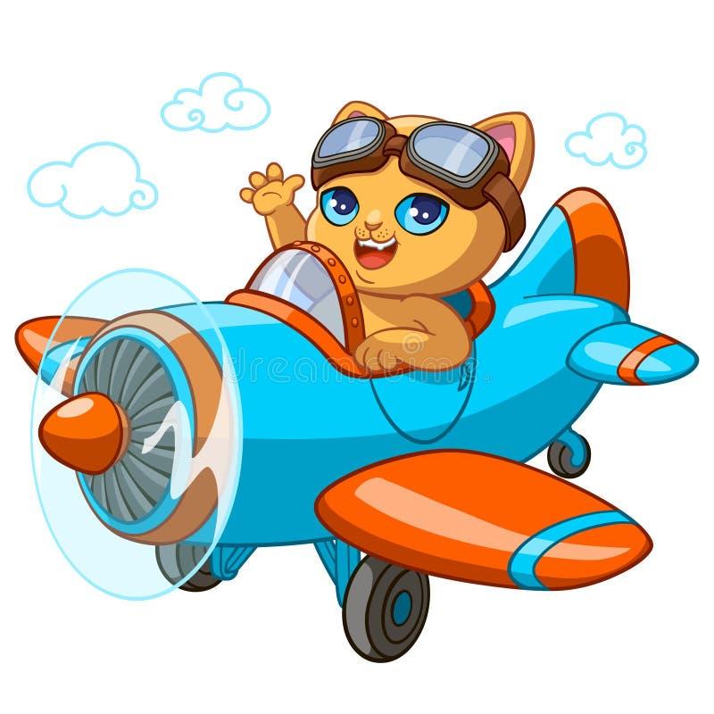 Kiciuni pilotowej kreskówki wektorowa ilustracja figlarka w zabawkarskim samolocie dla dzieciaka kartka z pozdrowieniami projekta ilustracji