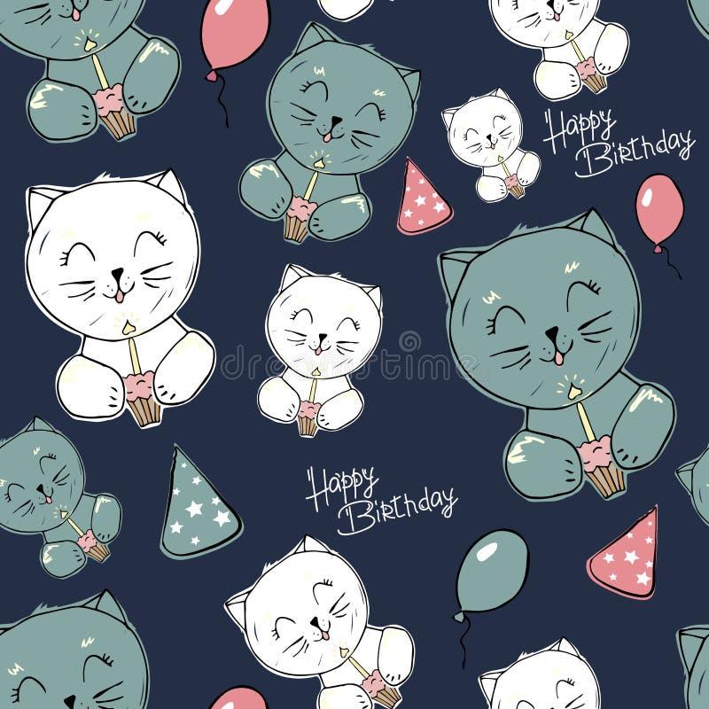 Kiciunia bezszwowy wz?r Dziecko stylowa ilustracja z kotami, kapelusz, tort na zmroku - błękitny tło dla dzieciaków wakacji Szcz? royalty ilustracja