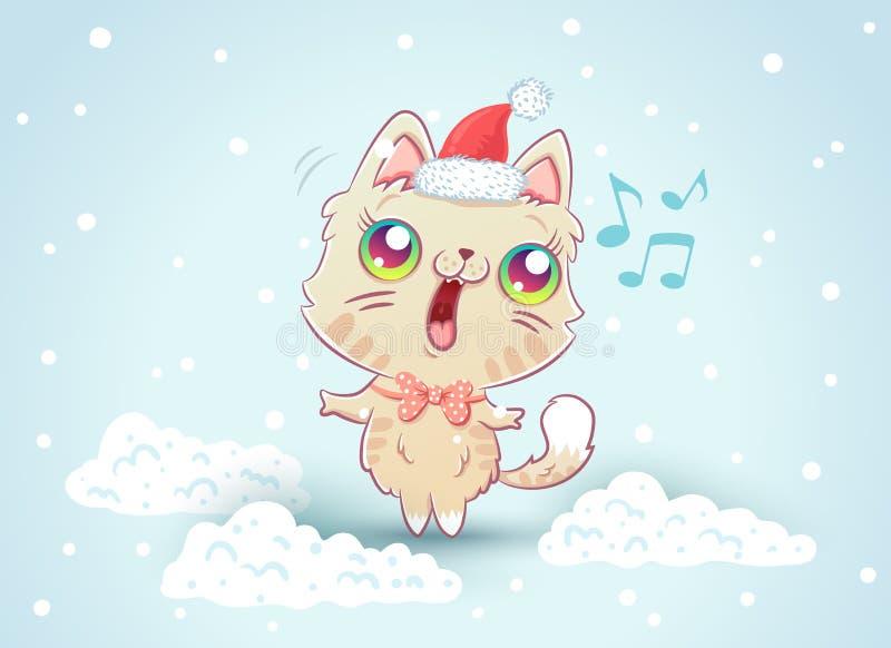 Kiciunia na śniegu w kawaii stylu ilustracja wektor