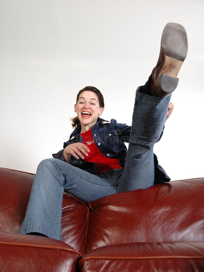 Download Kick stock photo. Image of sofa, girl, expression, kciking - 158802