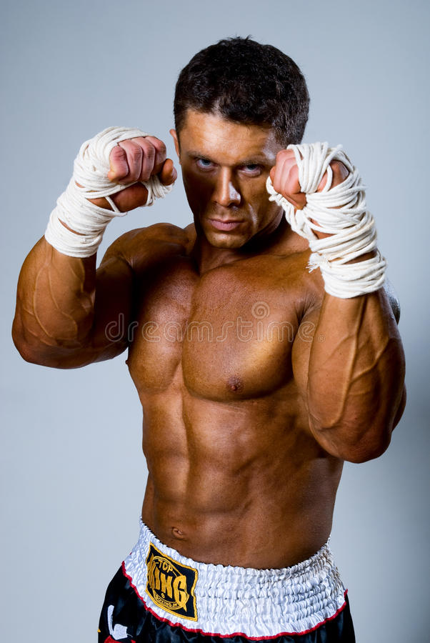 Download Kick-boxer In Fighting Stance Stock Image - Image: 28755435