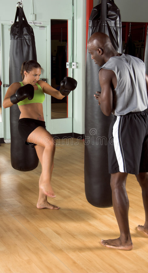 Kick boxer in the Gym royalty free stock photo