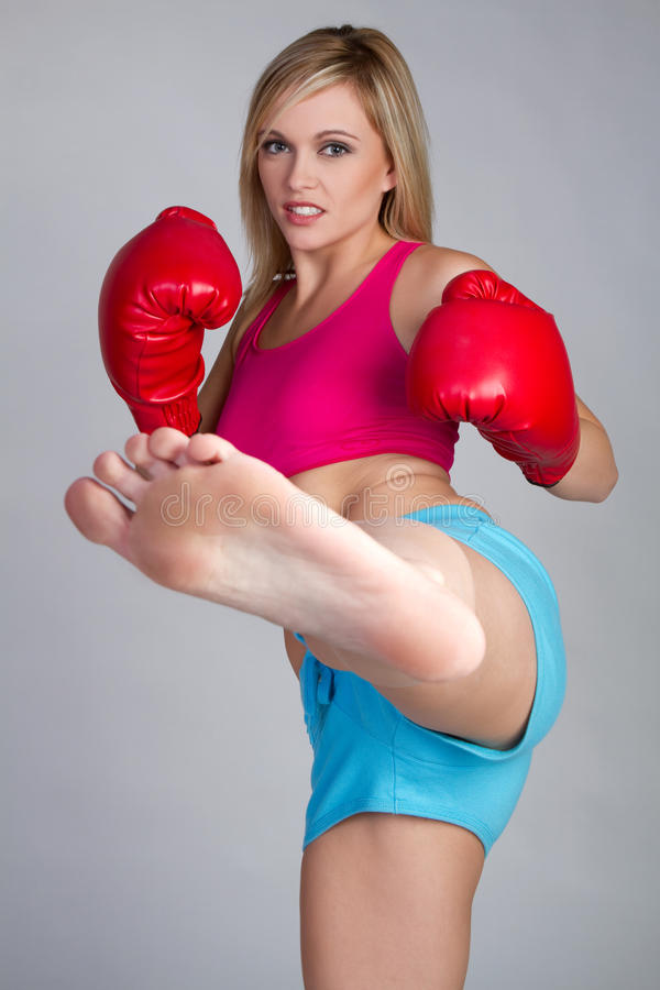 Kick Boxing Woman royalty free stock image