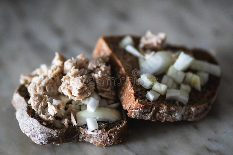 Sandwich with tuna and onion royalty free stock photo
