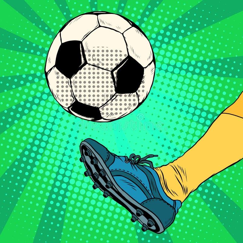 Kick a soccer ball royalty free illustration