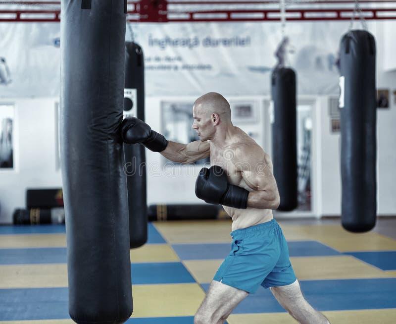 Kickbox与沙袋的战斗机训练 免版税库存照片