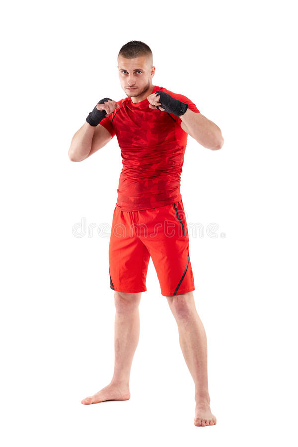Kickbox fighter in guard stance royalty free stock image