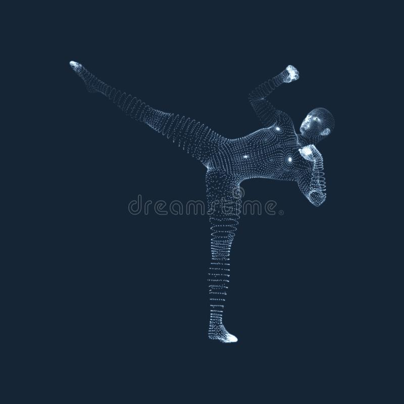Kickbox Fighter Preparing to Execute a High Kick. Fitness, Sport, Training and Martial Arts Concept. 3D Model of Man. vector illustration