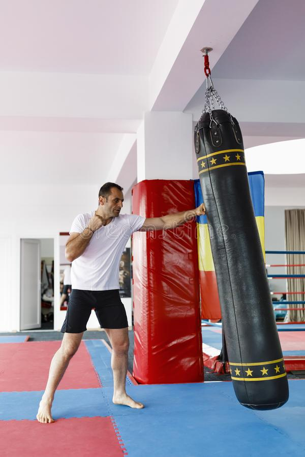Kickbox fighter training in a gym with punch bags, see the whole stock photos