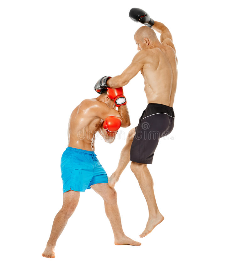 Kickbox fighters sparring royalty free stock image