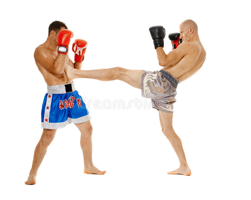 Kickbox fighters sparring royalty free stock photos
