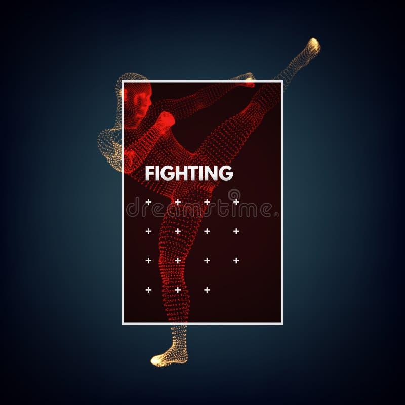 Kickbox kämpe som förbereder sig att utföra en hög spark Slåss man Designmall för sport stock illustrationer