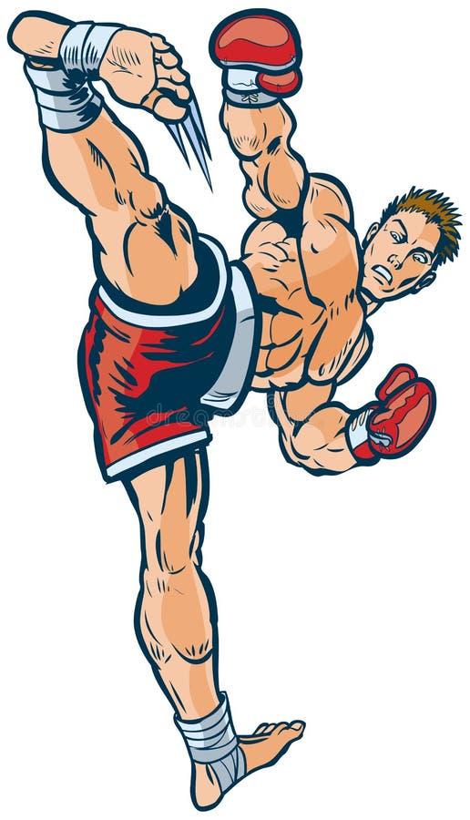 Kickboxer, das hohe Seitentritt-Vektor-Illustration durchführt lizenzfreie abbildung