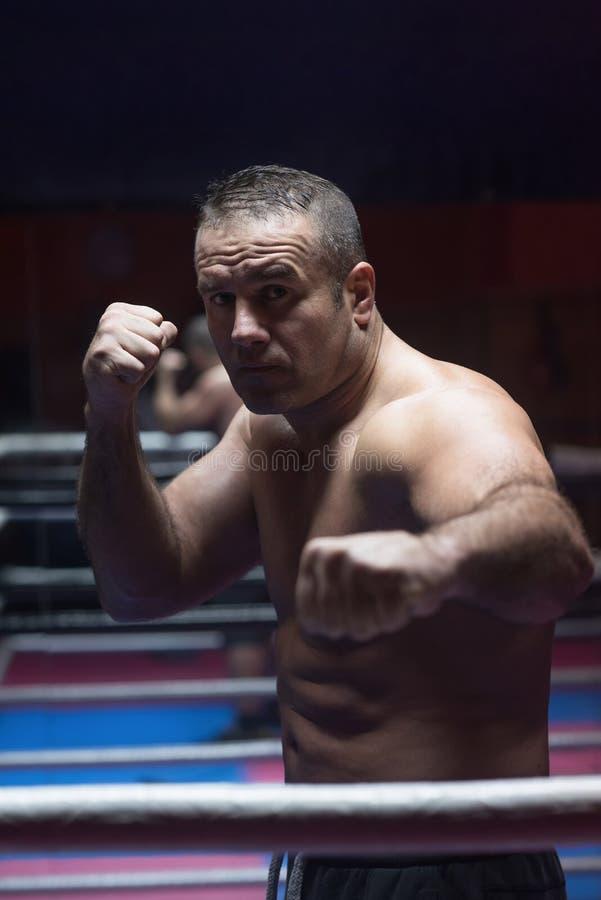 Kickboxer profesional en el anillo del entrenamiento fotos de archivo libres de regalías