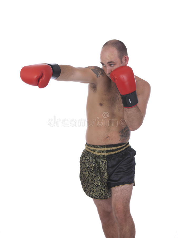 Kickboxer punching with red gloves from the side royalty free stock image