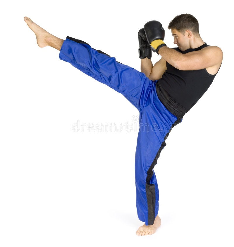 kickboxer s пинком стоковое фото