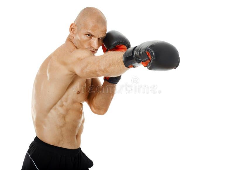 Kickboxer très adapté poinçonnant sur le blanc photos libres de droits