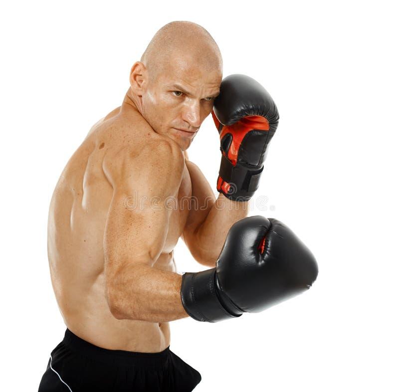 Kickboxer très adapté poinçonnant sur le blanc photos stock