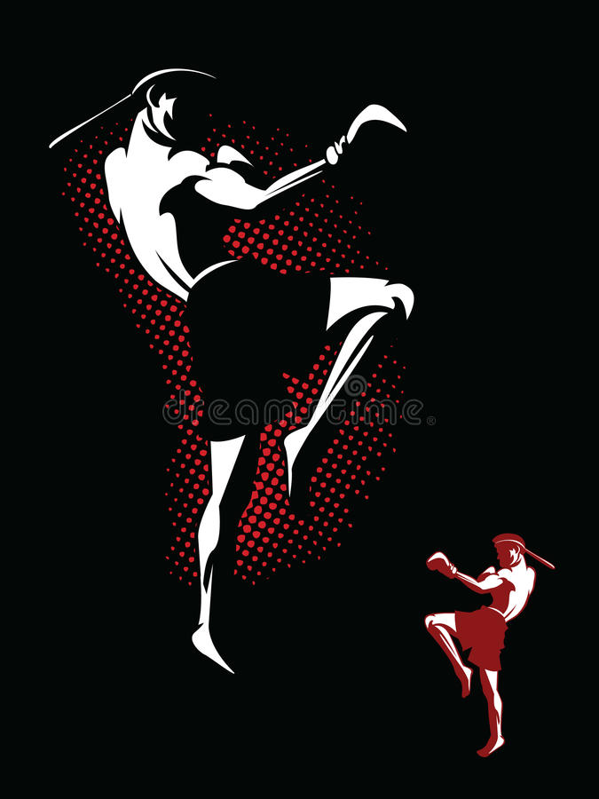 Kickboxerillustratie stock illustratie