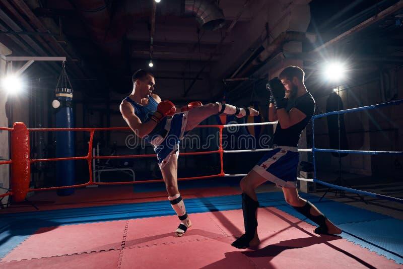 kickboxing在圆环的拳击手训练在健康俱乐部 免版税库存图片
