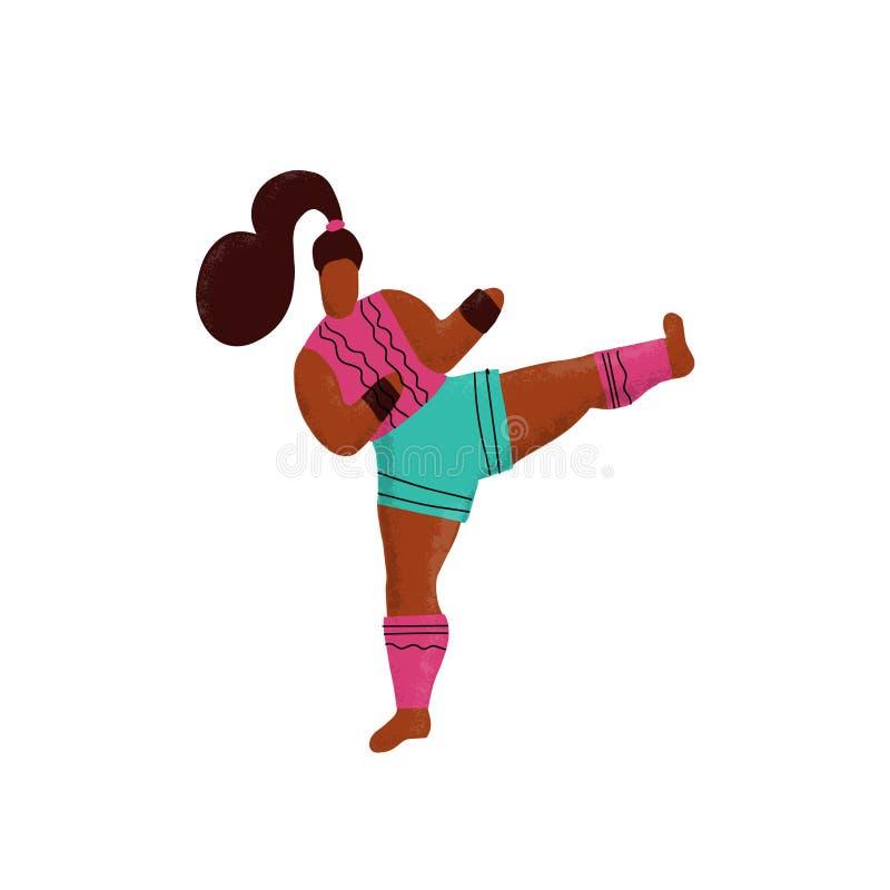 Kickboxing kvinna som gör sidospark Enhetliga bärande sportar för gulligt flickaboxaretecken Det kvinnliga teckenet lär att spark stock illustrationer