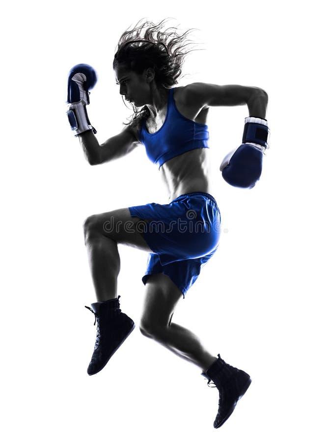 Kickboxing Schattenbild des Frauenboxer-Verpackens lokalisiert lizenzfreie stockbilder