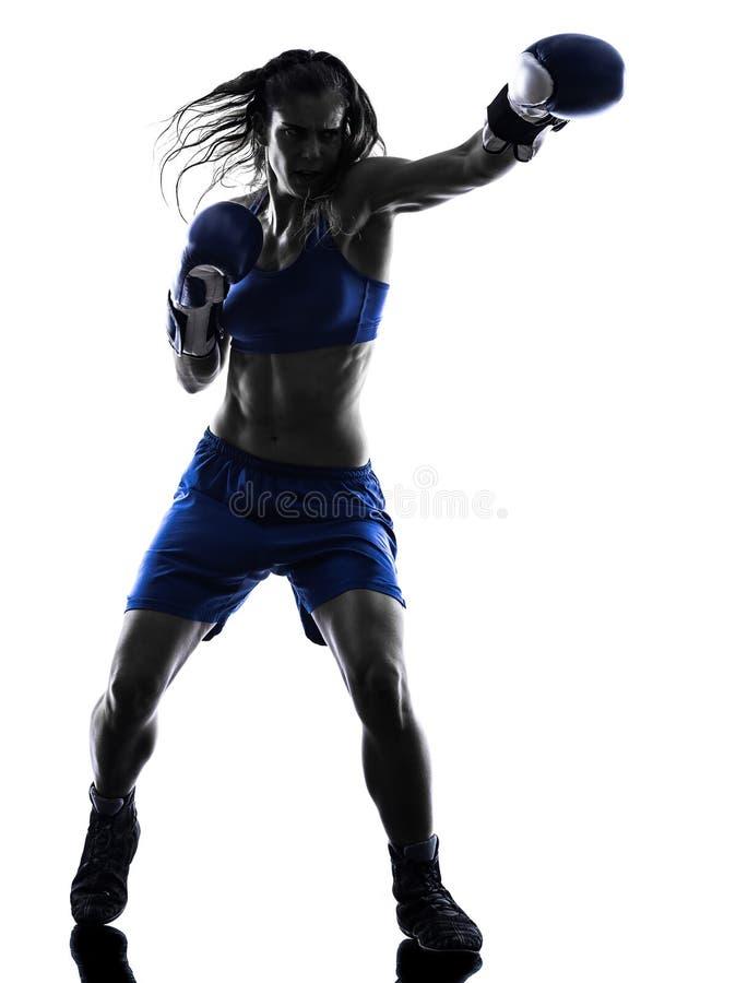 Kickboxing Schattenbild des Frauenboxer-Verpackens lokalisiert stockbild