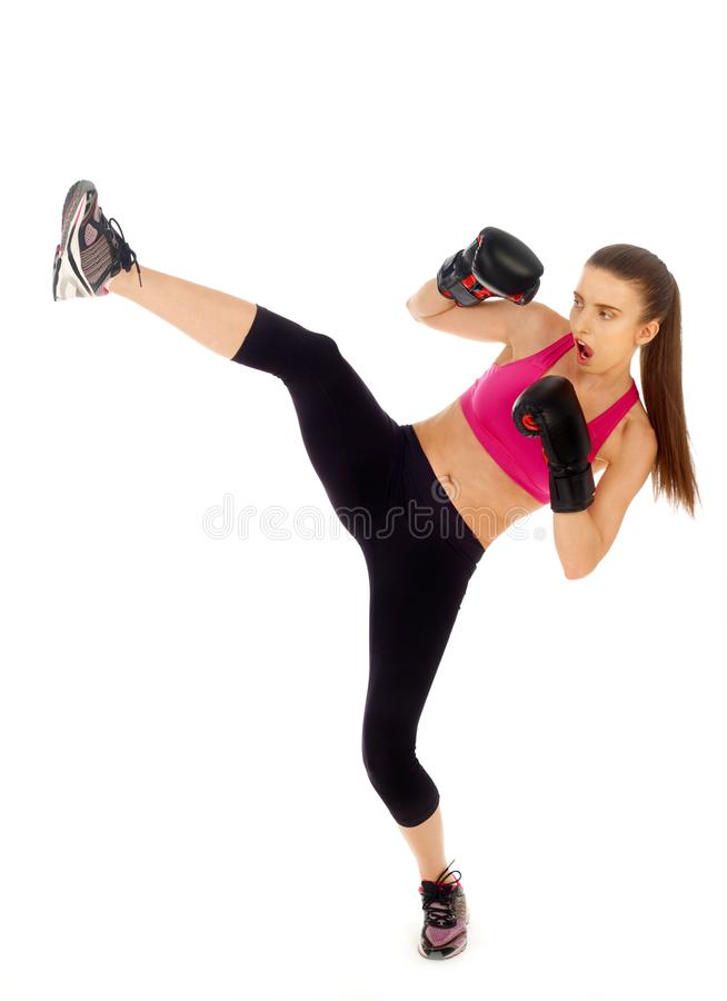 Kickboxing woman on white stock photo