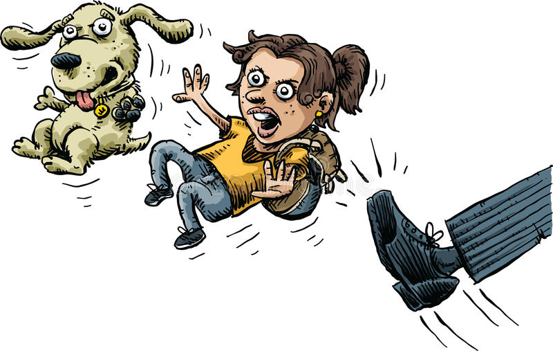 Kicked Out. A cartoon girl and her dog are angry as they are kicked out stock illustration