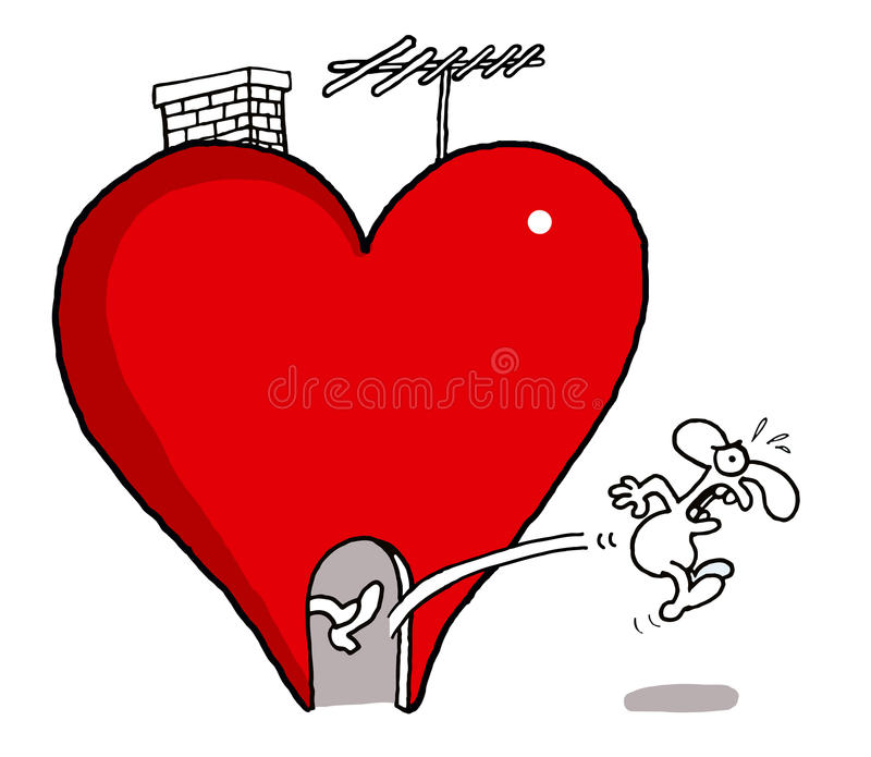 Kicked out from love. Vectorel conceptual humorous cartoon about Valentines day and Love stock illustration