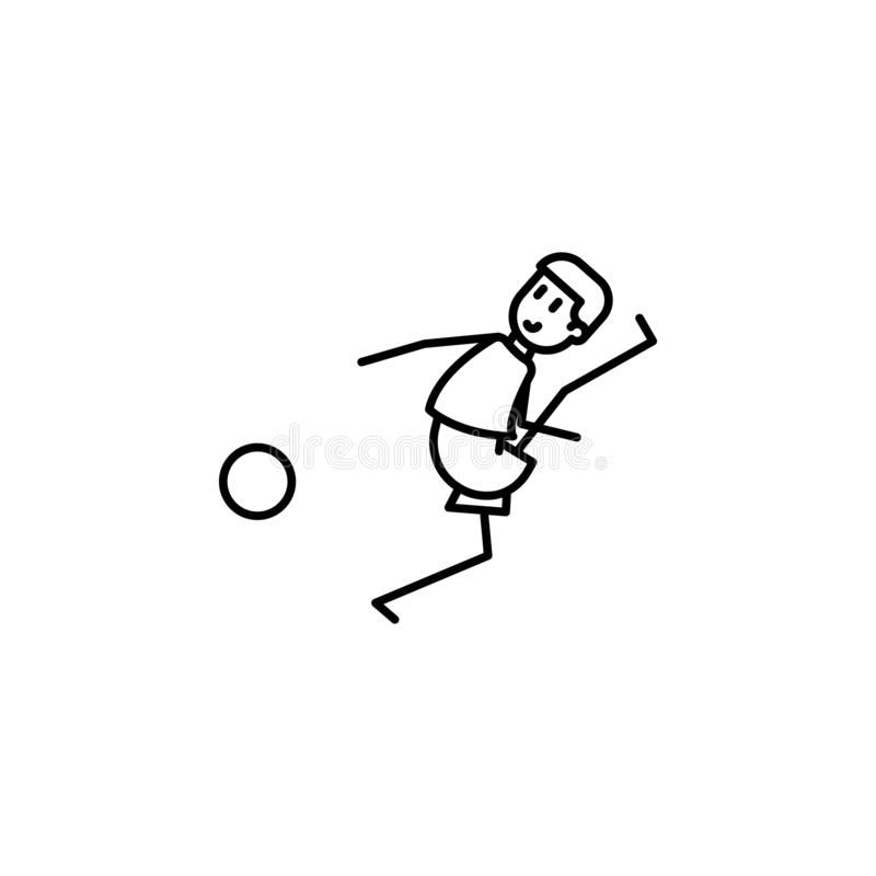The kicker strikes ball icon. Element of soccer player icon for mobile concept and web apps. Thin line the kicker strikes ball ico. N can be used for web and royalty free illustration