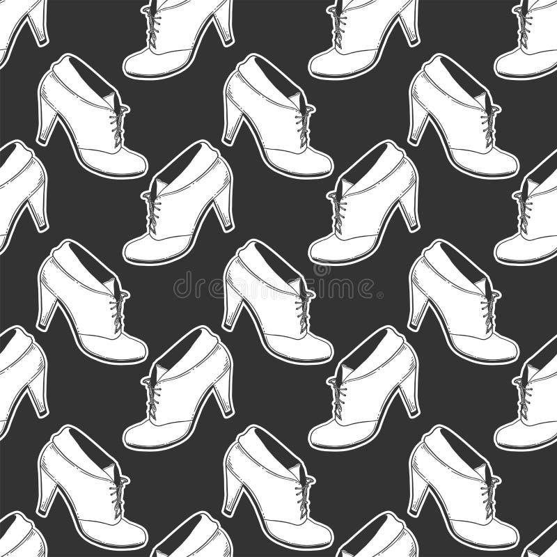 Kickh?let skor Vektorbegrepp i klotter och att skissa stil Utdragen illustration för hand för utskrift på T-tröja, vykort vektor illustrationer