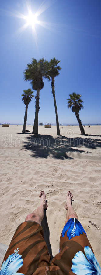 Kickin' it at the beach. Man relaxing by palm trees at the beach royalty free stock photography