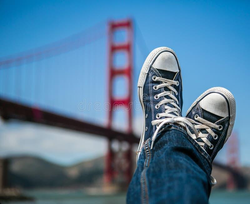Kicking back by the Golden Gate Bridge stock photo