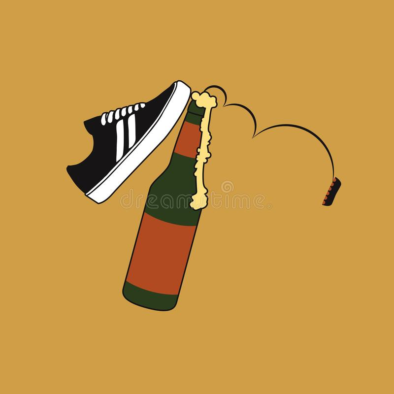 Kicking beer. Beer being kicked by a skate shoe, the lid is tumbling down, the foam is flowing out stock illustration