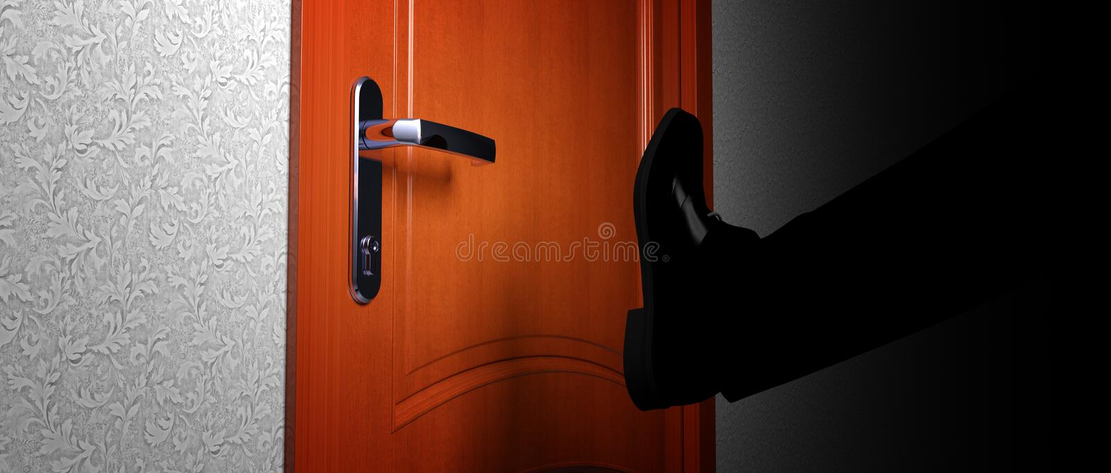 Breaking down door break and enter royalty free illustration