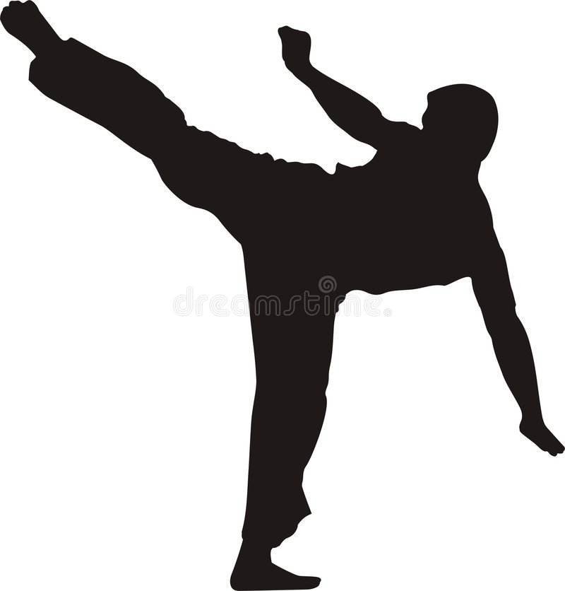 Kicking karate fighter silhouette royalty free illustration