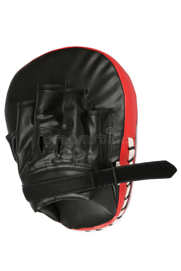 Kicking Shock shield glove on white background stock images