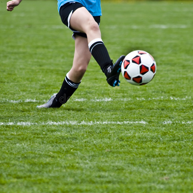 Balance Ball Kick: Kicking Soccer Ball Stock Image. Image Of Outdoor, Moving
