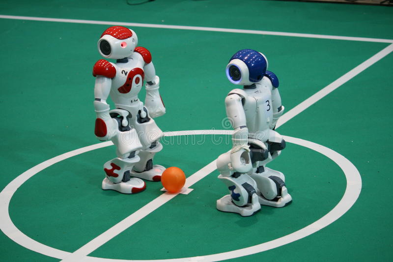 Kickoff at Robocup 2009 stock images