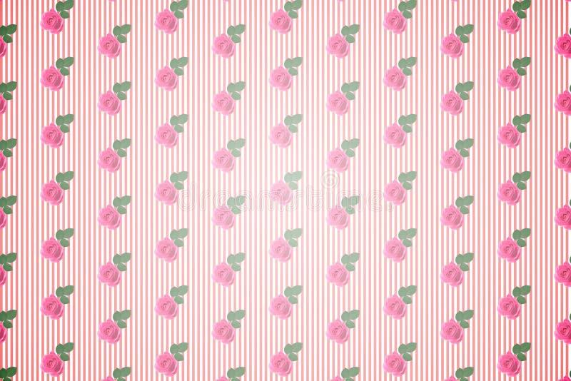 Kicz kwiecista deseniowa tapeta z różami royalty ilustracja