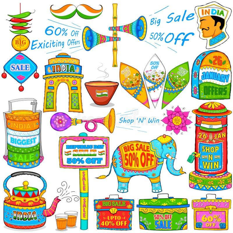 Kicz sztuka pokazuje sprzedaż i promocję India royalty ilustracja