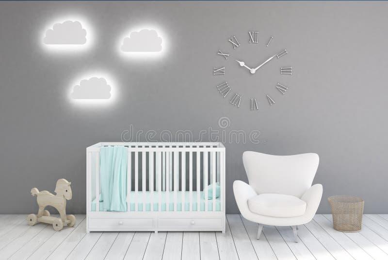 Kid's rum med klockor, gråa väggar royaltyfri illustrationer