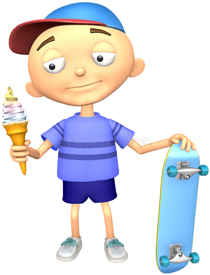 Kid. With ice-cream and skateboard on a white background vector illustration