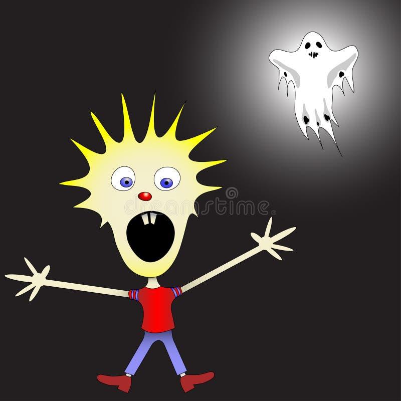 Download Kid afraid of ghost stock vector. Image of cartoon, little - 16474853